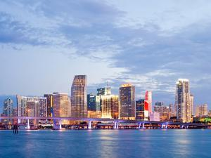 City of Miami Florida Summer Sunset Panorama by Fotomak