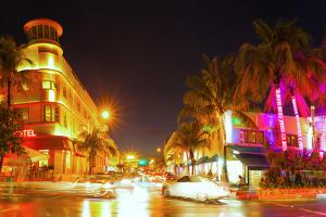 Miami Beach Florida Colorful Night Summer Scene by Fotomak