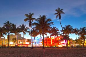 Miami Beach Florida Hotels And Restaurants At Sunset by Fotomak