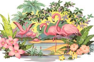 Flamingos in the Tropics by Found Image Holdings Inc