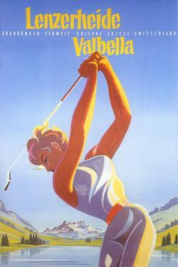 Golfing in Switzerland by Found Image Holdings Inc