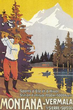 Golfing in the Swiss Alps by Found Image Holdings Inc