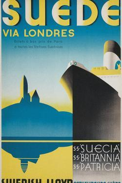 Travel Poster for Swedish Cruise Ships by Found Image Holdings Inc