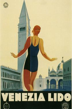Travel Poster for the Lido, Venice, Italy by Found Image Holdings Inc