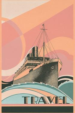 Travel Poster with Ocean Liner by Found Image Holdings Inc