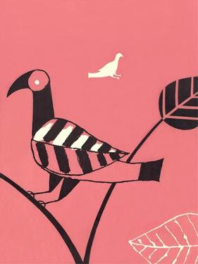 Abstract Bird Perched on Branch by Found Image Press