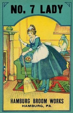 Advertisement for Hamburg Broom Works with Sweeping Maid by Found Image Press