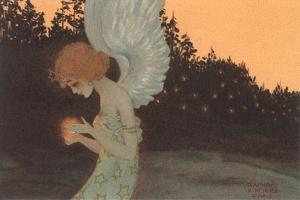 Angel Holding Candle by Found Image Press