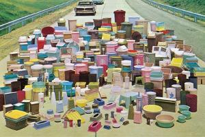 Assorted Plastic Household Containers on Highway by Found Image Press