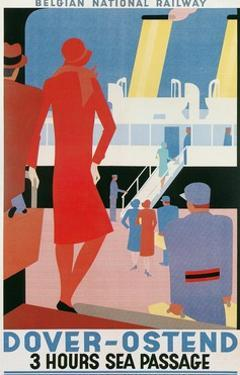 Belgian National Railway Poster, Channel Crossing by Found Image Press