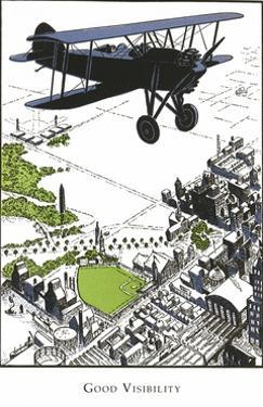 Bi-Plane over Town by Found Image Press