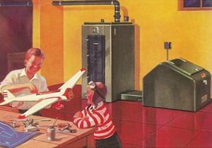 Boys in Basement with Model Airplane by Found Image Press