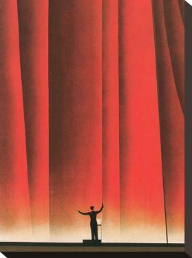 Conductor In Front Of Curtain by Found Image Press