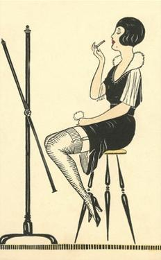 Flapper Putting on Lipstick by Found Image Press