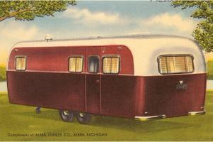 Forties Burgundy and White Travel Trailer by Found Image Press