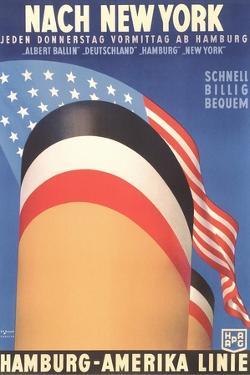 Hamburg America Line, Ship Funnel by Found Image Press