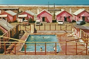 Holiday Cabins around Swimming Pool by Found Image Press