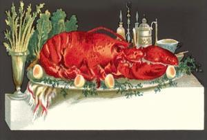 Huge Lobster on Serving Platter by Found Image Press