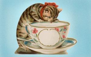 Kitten Lapping at Cup by Found Image Press