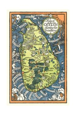 Map of Ceylon Tea Industry Sites by Found Image Press