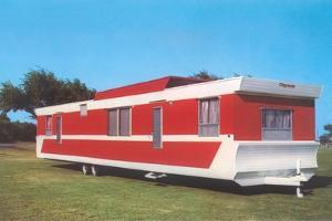 Red and White Travel Trailer by Found Image Press