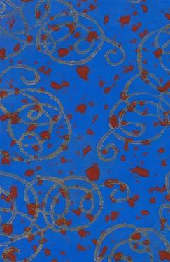 Red Spots on Blue with Gold Squiggles by Found Image Press