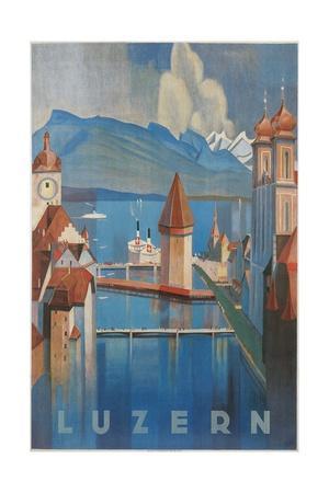 Travel Poster for Lucerne, Switzerland