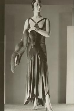 Twenties Female Mannequin in Evening Gown with Fox Fur by Found Image Press