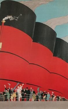 Waving People with Ocean Liner Smoke Stacks by Found Image Press