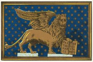 Winged Lion with Book by Found Image Press
