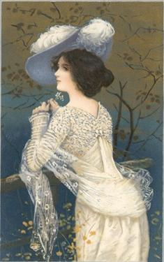 Woman in Lacy White Dress and Feathered Hat by Found Image Press