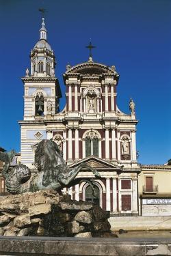 Fountain in Front of a Church, St. Sebastian, Caltanisetta, Sicily, Italy