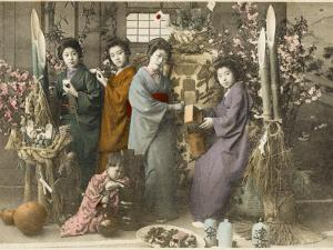 Four Japanese Women Amid Bamboo with a Young Child