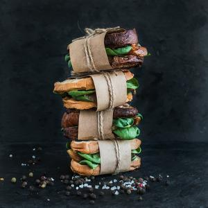Cured Chicken and Spinach Whole Grain Sandwich Tower with Spices and Black Stone Background by Foxys Forest Manufacture