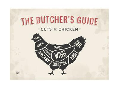 Cut of Meat Butcher Diagram - Chicken by foxysgraphic