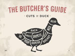 Cut of Meat Butcher Diagram - Duck by foxysgraphic