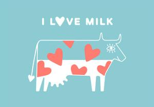 Happy Cow with Red Hearts - I Love Milk by foxysgraphic