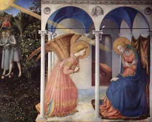 Fra Angelico (Annunciation to Mary, Altarretabel with 5 Predellatafeln from the living Marie, main