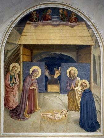 Birth of Christ, with the Saints Catherine of Alexandria and Peter the Martyr, 1437-45 by Fra Angelico