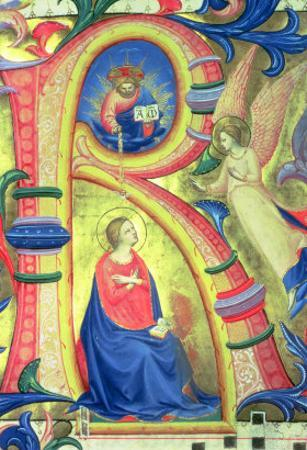 """The Annunciation Depicted in an Historiated Initial """"R"""" by Fra Angelico"""