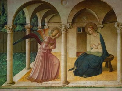 The Annunciation. Fresco in the former dormitory of the Dominican monastery San Marco, Florence. by Fra Angelico