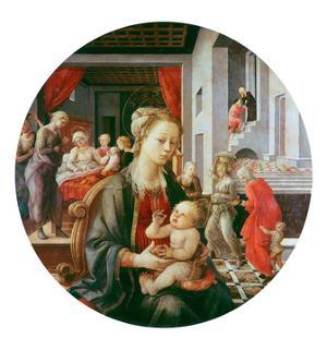 Virgin and Child with Life of Saint Anne and Birth of the Virgin, Tondo, 1452 by Fra Filippo Lippi