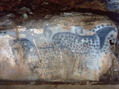 France, Cabrerets, Pech Merle Cave, the Dotted Horse with Black and Red Dotted and Hands