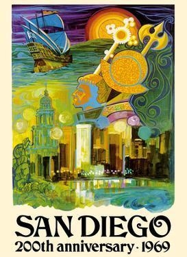 San Diego California - 200th Anniversary 1969 by France Carpentier