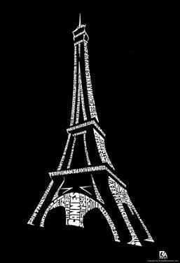 France Cities Eiffel Tower Text Poster