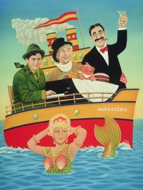 Three Men in a Tub, 1994 by Frances Broomfield