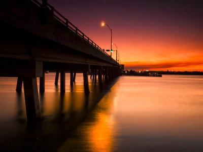 A Drawbridge at Sunset on North Hutchinson Island, Florida