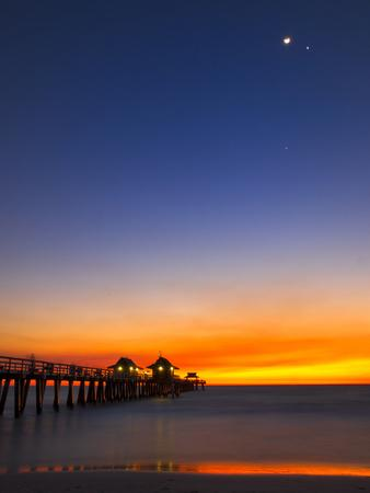 Naples Pier at Sunset with Crescent Moon, Jupiter and Venus