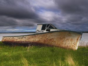 Old Rusty Lobster Boat on a Grassy Bank by the Ocean in Nova Scotia by Frances Gallogly