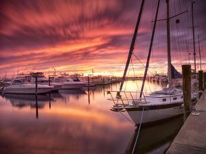 Sunset at Stuart Marina, Florida by Frances Gallogly